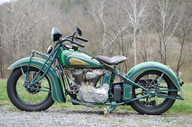 1937 Indian Chief. Custom. I like the nature green on the motorcycle looks like…