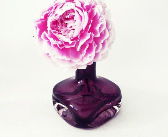 Retro purple glass vase Friedrich glass Mid by Retromania1331