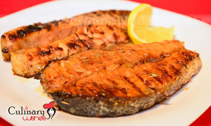 Grilled salmon with orange sauce on http://www.culinarywishes.com