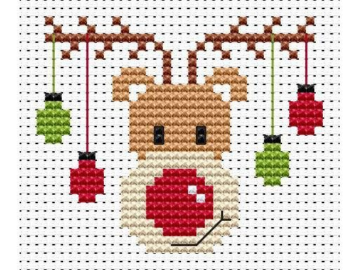 Sew Simple Rudolf Cross Stitch Kit £8.95 | Past Impressions | Fat Cat Cross…