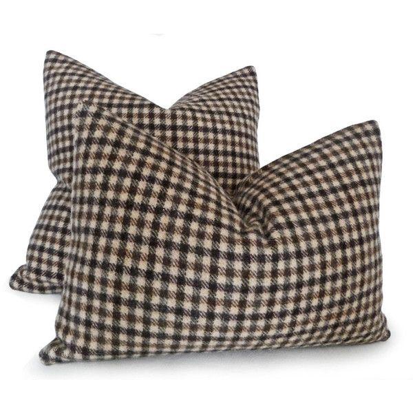 Marrone crema Plaid cuscino, cuscino lana rustica, 18 x 18, caduta maschile Decor, paese, colori, Lodge Home Decor, nuovo
