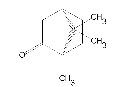 This molecule is CAMPHOR.  It is a KETONE.   Therapeutic properties:  analgesic, anti-tussive (reduces cough), CNS stimulant (central nervous system), mucolytic (thins mucous).   Oils that contain camphor:  Rosemary ct camphor (R officinalis ct camphor), Fingeroot (Boesenbergia pandurata), Spike Lavender (L. latifolia)