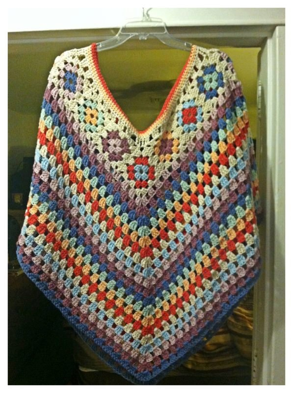 Granny Square Poncho. $150.00, via Etsy.  - BEAUTIFUL! im going to make something like this for me to wear this fall/winter