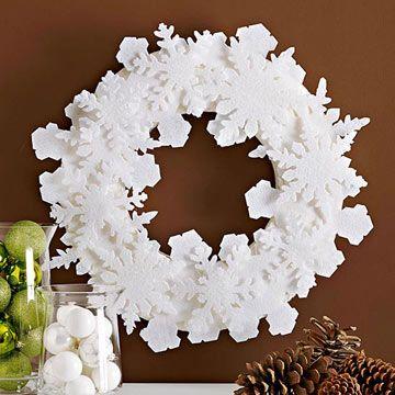 Simple Felt Snowflake Wreath