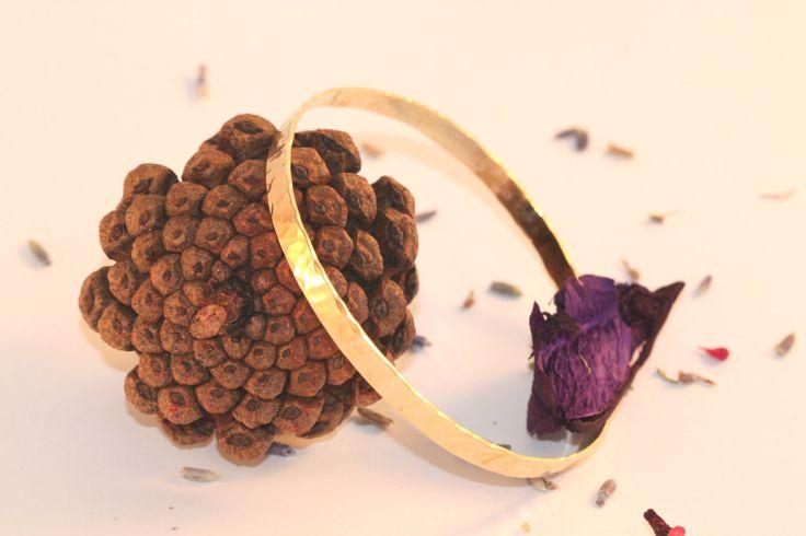 Hammered Gold Bangle, Solid GOLD Bangles, 14K GOLD Wide Bracelet For Women, Shiny Hammered Bracelet , Delicate Wide Bracelet by LIRANSHANI on Etsy