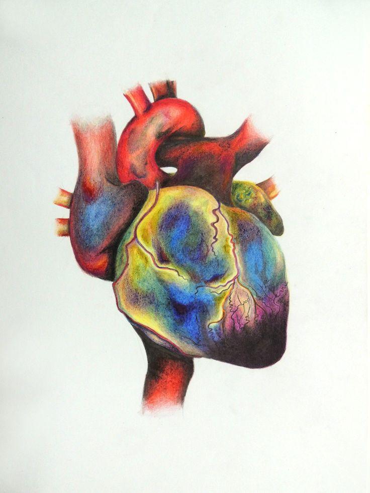 Dibujo y pintura de corazón humano con sus colores alterados, para simular…
