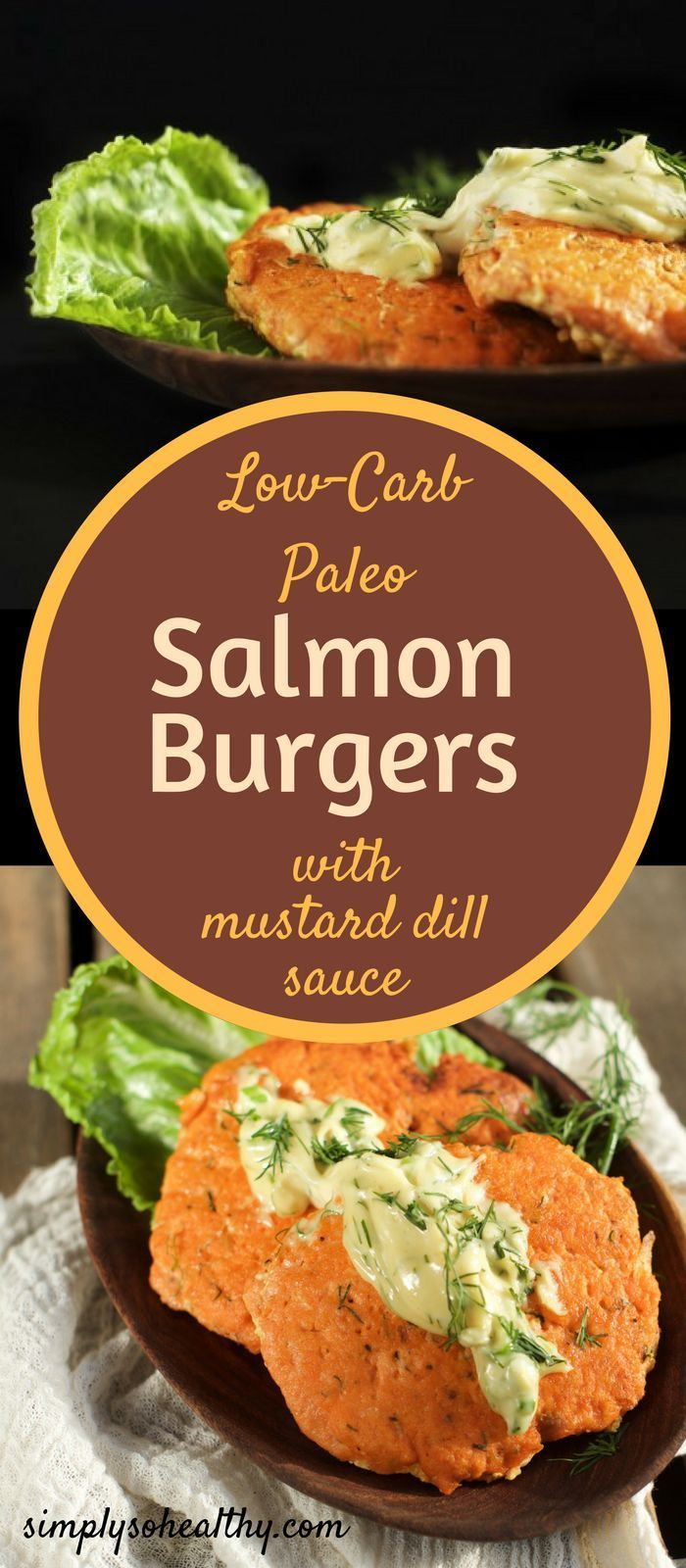 These Salmon Burgers With Mustard Dill Sauce are low-carb, gluten-free, keto and Paleo. They come together quickly and easily with the help of a food processor. The tender flakes of salmon with hints of scallion and dill are served with a creamy sauce with tones of mustard and dill. They make the perfect lunch, dinner or could be made in miniature for an appetizer.