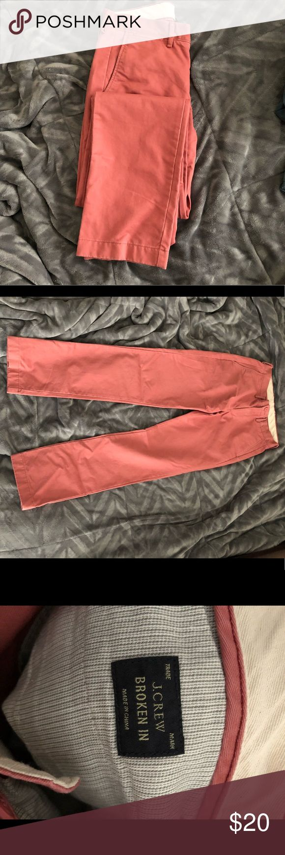 "JCrew  ""Broken in"" Urban Slim  salmon khaki pant Need salmon pants? (Yes)  these pants have been worn 1 time. These are from the ""broken in"" line and are very soft. Urban Slim fit, comparable to slim straight. W29 L32 J. Crew Pants Chinos & Khakis"