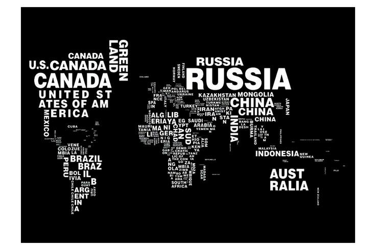 Oneplanet är en av våra stora tavlor med världskarta i svartvitt