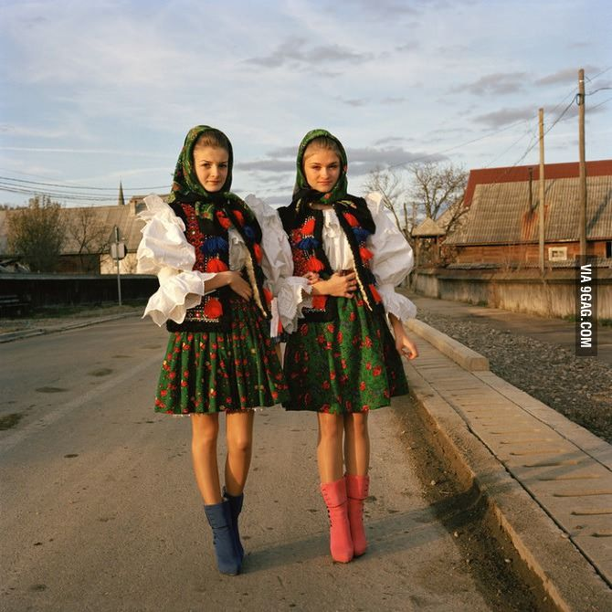 Transylvanian women in traditional garb.