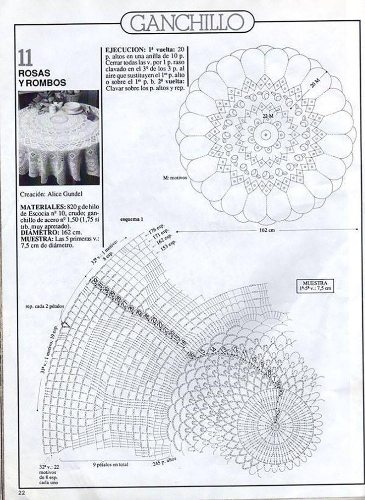 Кругла скатертина-філе, в'язана від центру схема 1