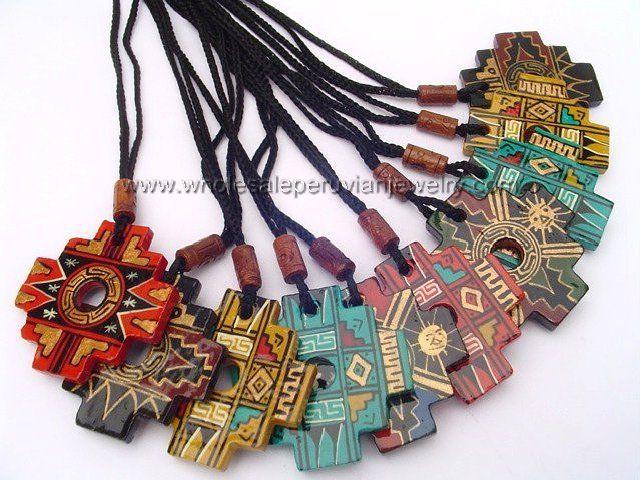 Andean Chakana Cross, Ceramic Necklaceshttp://www.wholesaleperuvianjewelry.com
