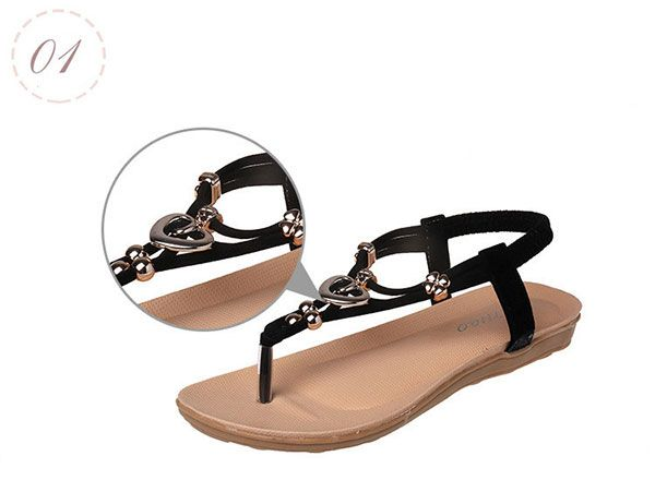 Women Summer Comfortable Flats Sandals Slip On Soft Fashion Beach Sandals Shoes