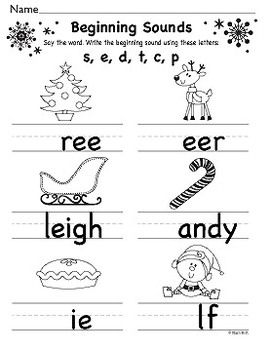 Christmas Beginning and Ending Sounds Sheets FREE  *note to myself: also pinned in Homeschool Kindergarten*