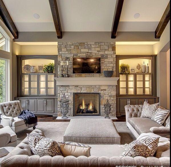 beams, built-ins, fireplace