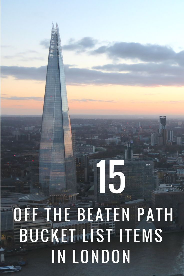 Some off the beaten path items for your bucket list if you are in London. Don't miss the Skygarden, Holland Park and a West End show!