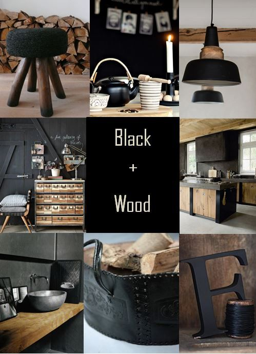 moodboard - black + wood
