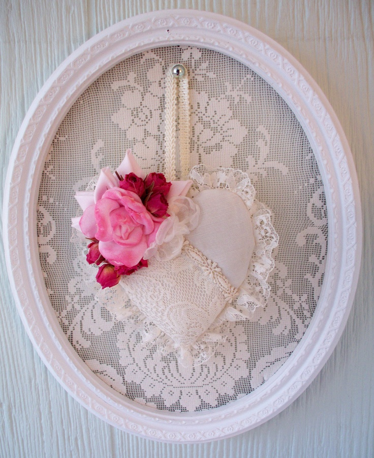 Hanging Heart Sachet- paint small white frame, glue stretch lace backing. make white felt heart with lace inserts, trim ruffled lace round heart. add burgandy, pink felt roses, use satin braided trim to hang. Can use old mirror frames