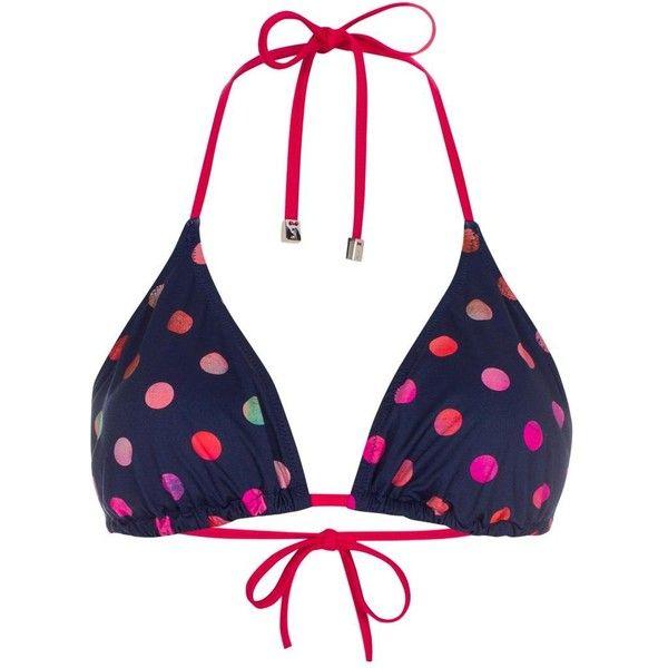 Paul Smith Women's Navy Polka Dot Triangle Bikini Top ($77) ❤ liked on Polyvore featuring swimwear, bikinis, bikini tops, triangle bikini bottoms, bikini bottom swimwear, bikini top, navy bikini bottom and tankini tops