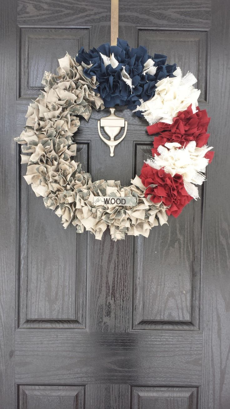 Local No Shipping Included- Patriotic Military Wreath (Navy/AF/Army/Marine) by MyTTT on Etsy