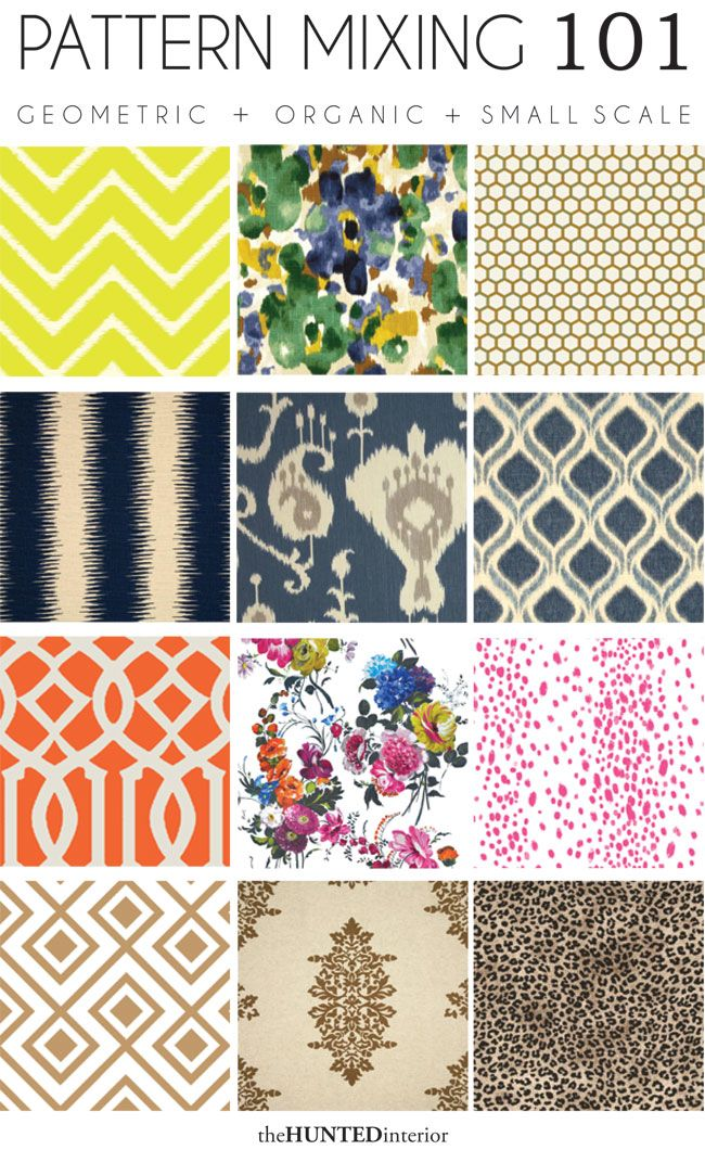 Good to remember for choosing pillows, curtains, rugs. Pattern mixing= geometric (row 1)+organic (row 2) +small scale (row 3). All patterns should have some color cohesion, or fit loosely into your color scheme.
