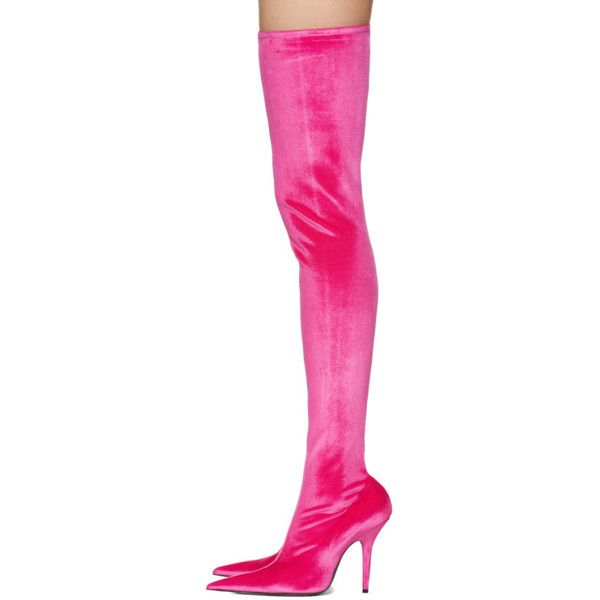 Balenciaga Pink Knife Over-the-Knee Boots ($1,430) ❤ liked on Polyvore featuring shoes, boots, stretch thigh high boots, thigh high heel boots, thigh boots, pink velvet boots and stretch over the knee boots