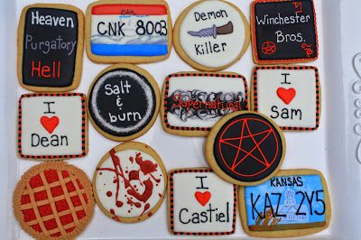 Cupcake Adventures: Supernatural Cookies -- I AM SO HAVING A PARTY AND MAKING THESE.
