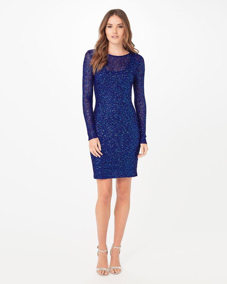 Phase Eight Juana Sequin Dress Blue
