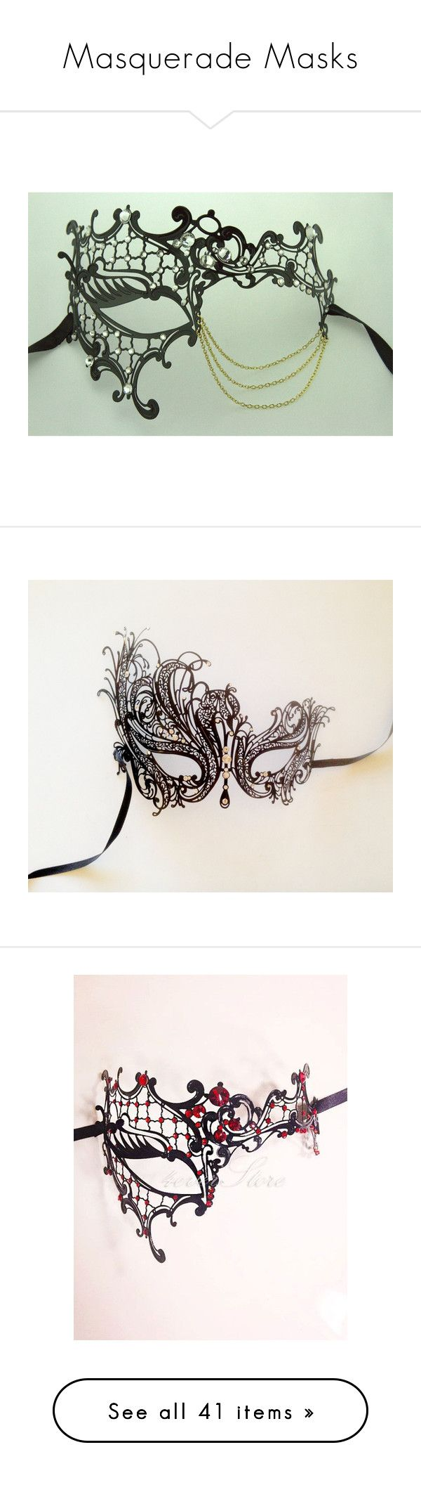 """Masquerade Masks"" by gingerstark ❤ liked on Polyvore featuring masks, masquerade, costumes, masquerade costume, elegant halloween costumes, elegant costumes, masquerade halloween costume, mask, accessories and masquerade mask"