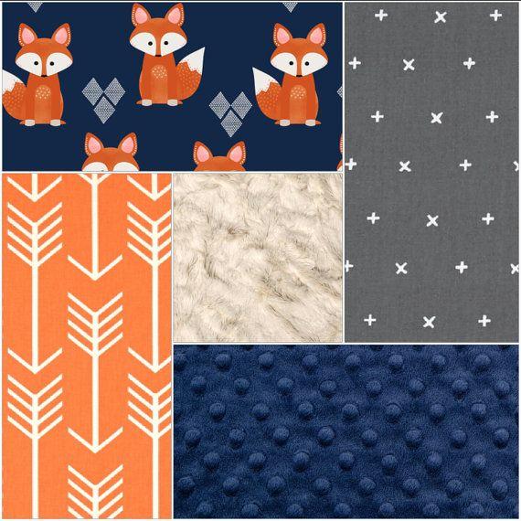 Baby Boy Crib Bedding Navy Fox Gray Plus by DesignsbyChristyS