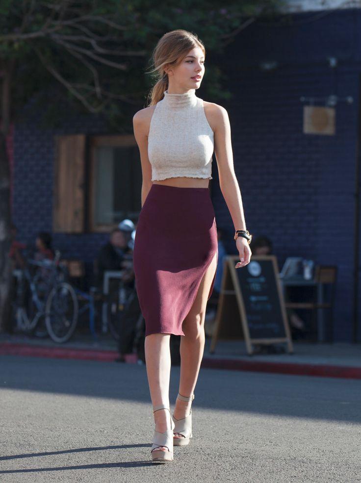 Simple crop top and burgundy midi skirt. #Love #HavetoGetit #MustHave