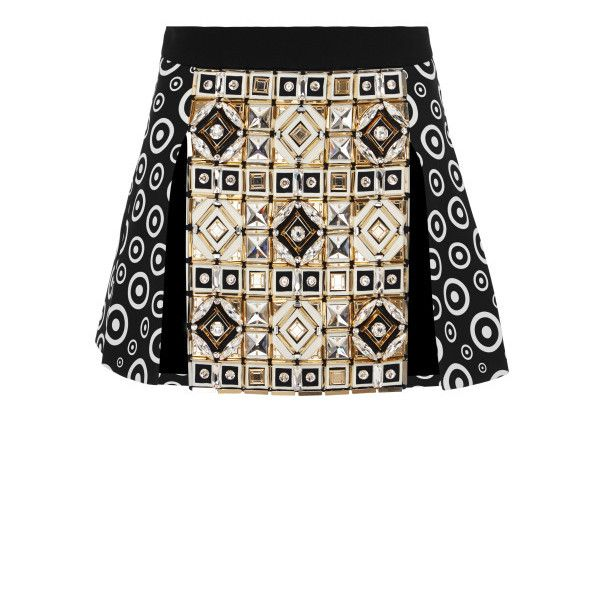 Fausto Puglisi Embellished Multi-Panel Mini Skirt (€11.720) ❤ liked on Polyvore featuring skirts, mini skirts, co-orders, fausto puglisi, saia, black multi, short circle skirt, short skirts, embellished skirts and patterned skirts