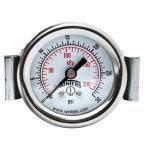PEU Series 1.5 in. Black Steel Case Panel Mounted Pressure Gauge with 1/8 in. NPT CBM and Range of 0-30 psi/kPa