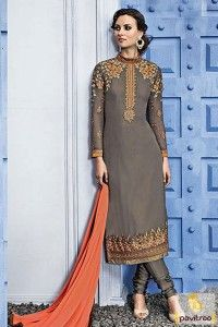 Grey Peach Santoon Georgette Salwar Suit #salwarsuit, #eidspecialdress more: http://www.pavitraa.in/catalogs/latest-fashion-pakistani-dresses-in-india/?utm_source=rn&utm_medium=pinterestpost&utm_campaign=14jun