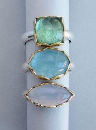 Tourmaline, aquamarine and blue chalcedony hand pierced rings