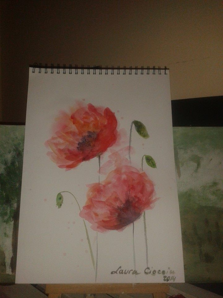 Poppies - Watercolour Copyright@ Laura Ciocoiu