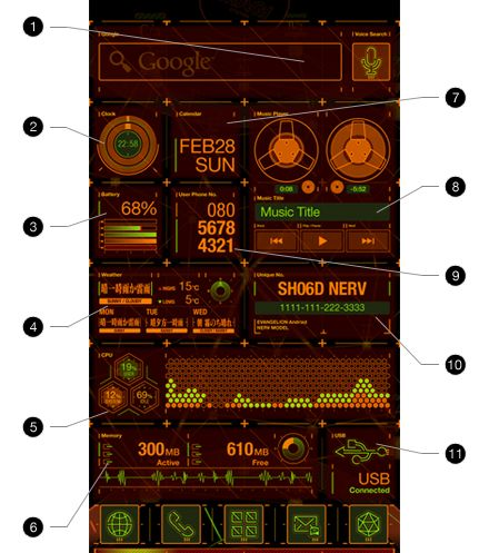Docomo SH-06D NERV: the coolest smartphone GUI I ever seen!      Check the video.: Ui Design, Docomo Sh 06D, Futuristic Interface, Interfacedesign, Sh06D Nerve, Interface Design, Sh 06D Nerv特設サイト, Sh 06D Nerve, Series Sh 06D