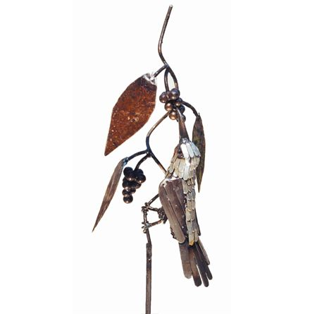 Sugar Bird metal garden sculpture on a stake