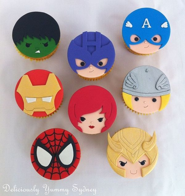 These adorable Avengers Cupcakes were made by Deliciously Yummy Sydney. They feature the Hulk, Hawkeye, Captain America, Iron Man, Black Widow, Thor, Spider-Man, and Loki. The faces on these cupcakes are terrific.