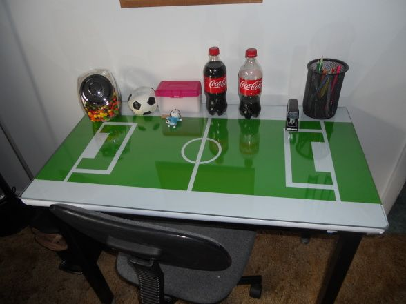 soccer field desk cover it with vinyl and then put a piece of glass on cover desk