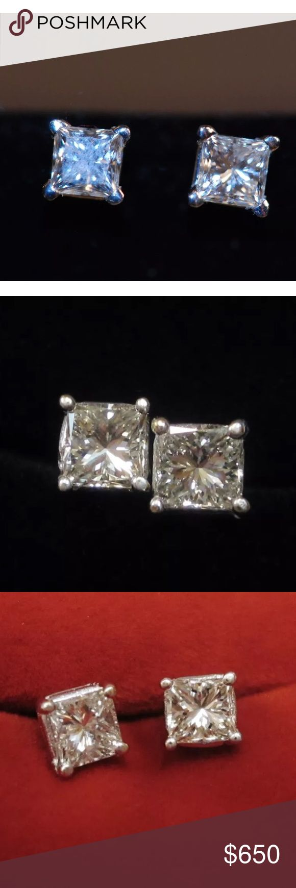 1 carat 18k princess cut diamond earrings 1 carat white gold princess cut diamond earrings! High quality! Comes with appraisal and certificate. Retail over $2500!!! Jewelry Earrings