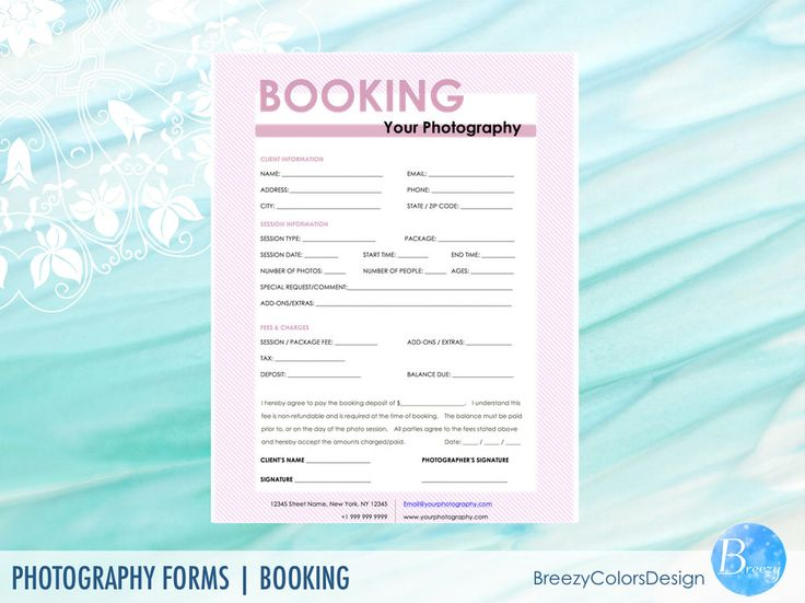 Session Booking Form, Photography Forms Printable, Editable Template For Photographers Studio, Printable Marketing, Microsoft Word doc Files by BreezyColorsDesign on Etsy https://www.etsy.com/listing/506171309/session-booking-form-photography-forms