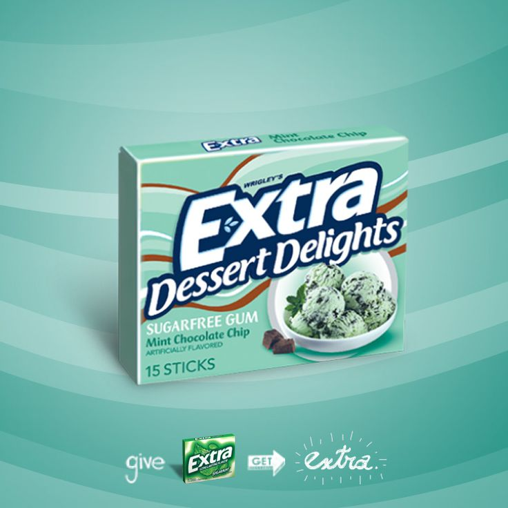 Extra Dessert Delights Mint Chocolate Chip gum. The gum that tastes like it belongs on a cone.