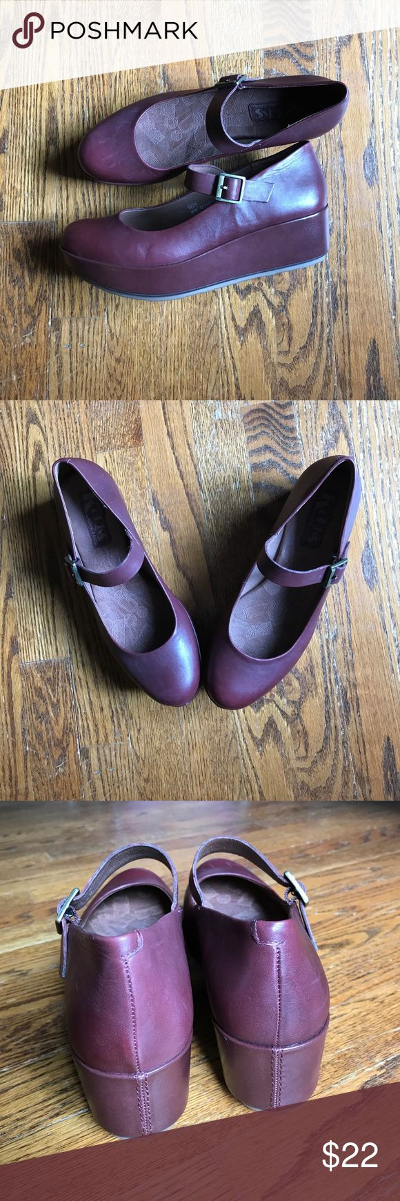 Korks by Kork Ease Mary Jane Platforms Manic Panic Pixie Dream Girl realness. Totally 90's. Purpley Maroon leather. Never worn! Korks by Kork Ease Shoes Platforms