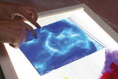 Otra ¡ID! para la mesa luminosa, coja sacos de plástico, rellenemos de pintura y de gel (para cabello por ejemplo) y póngalos en la tabla luminosa. Trabajará la visión y el tacto