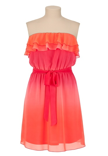 Ruffle Front Ombre Tube Dress available at #Maurices