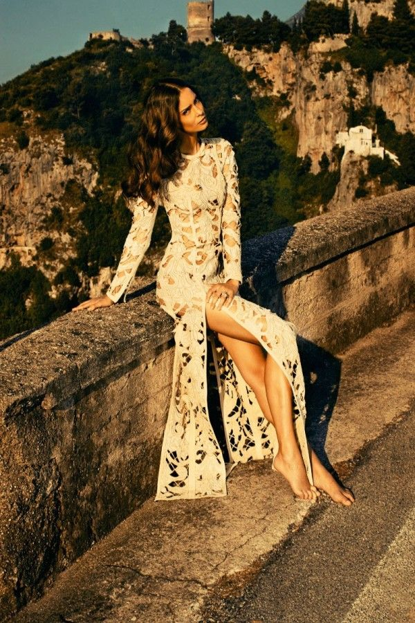 Dressed Up: Maxi Dresses, Amalfi Coast, Cream Lace Dresses, Thighs High, White Lace, The Dresses, Hair, Cut Outs, Lace Gowns
