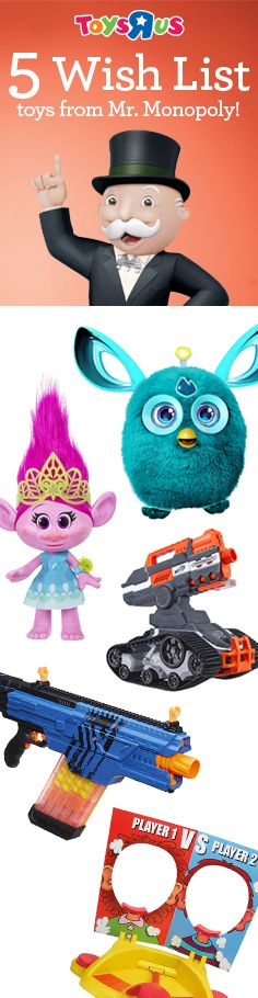 For the kid who wants all the Christmas gifts this year – big, little, fluffy or shiny! Take your pick of 2016's biggest hottest toys that look like a million dollars without breaking the bank. Trolls, Furby and NERF, are topping Wish Lists and creating an #AwesomeMoment in every household this season. If a millionaire has a Wish List, you might want one, too. Check out his entire Wish List!