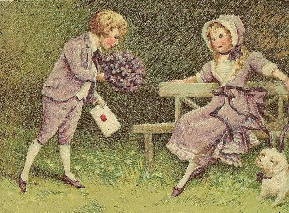 Young Boy Presents a Bouquet of Violets and Love Letter to his Sweetheart Vintage Valentine's Day Post Card 1911