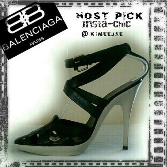SALE Balenciaga ankle strap stiletto heels Sexy chic black strappy heels by Balenciaga. A perfect pair when added to any LBD!!   Pre loved with signs of wear on heel base and bottom sole. See photo. Newly replaced heel tips. In my opinion **please note that there is not a size marked on the shoe. It is my personal opinion to it best fits size 7 to 7.5, size of current owner.  I am more than happy to give any measurements requested. No trades Balenciaga  Shoes Heels